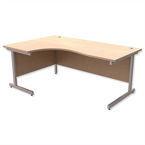 Office Desk Radial Left Hand Silver Legs W1800xD1200xH725mm Maple Ashford