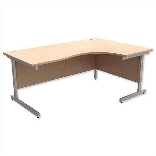 Office Desk Radial Right Hand Silver Legs W1800xD1200xH725mm Maple Ashford