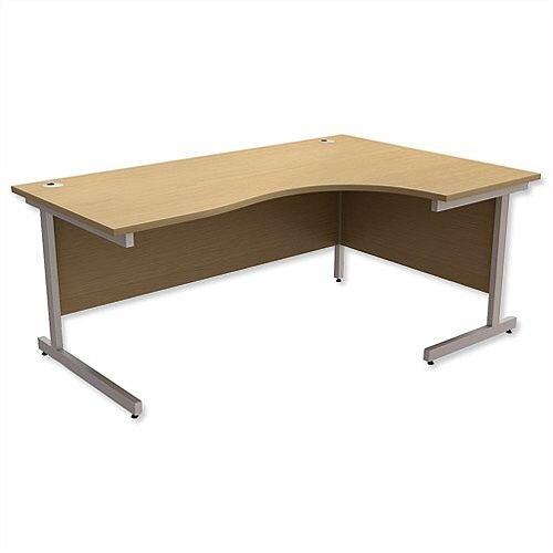 Office Desk Radial Right Hand Silver Legs W1800xD1200xH725mm Urban Oak Ashford