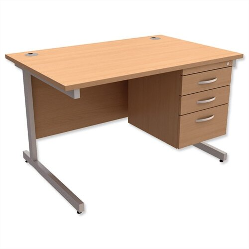 Rectangular Office Desk With Fixed 3-Drawer Pedestal Silver Legs W1200mm Beech Ashford – Cantilever Desk &Extra Storage , 25 Year Warranty
