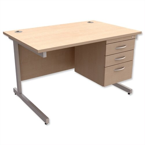 Rectangular Office Desk With Fixed 3-Drawer Pedestal Silver Legs W1200mm Maple Ashford – Cantilever Desk &Extra Storage , 25 Year Warranty