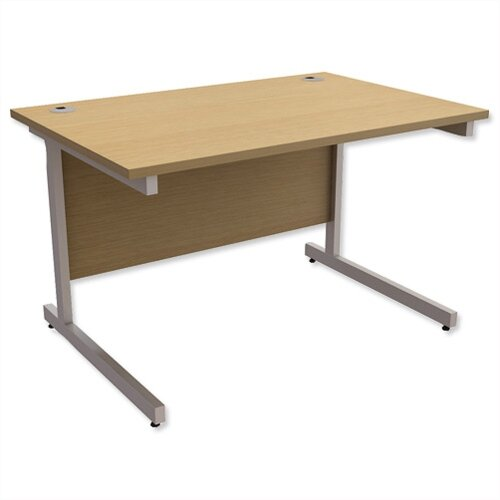 Office Desk Rectangular Silver Legs W1200mm Urban Oak Ashford