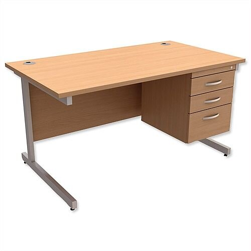 Rectangular Office Desk With Fixed 3-Drawer Pedestal Silver Legs W1400mm Beech Ashford  – Cantilever Desk &Extra Storage , 25 Year Warranty