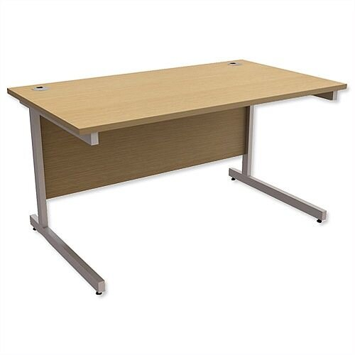 Office Desk Rectangular Silver Legs W1400mm Urban Oak Ashford