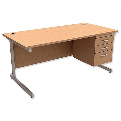 Rectangular Office Desk With Fixed 3-Drawer Pedestal Silver Legs W1600mm Beech Ashford – Cantilever Desk &Extra Storage , 25 Year Warranty