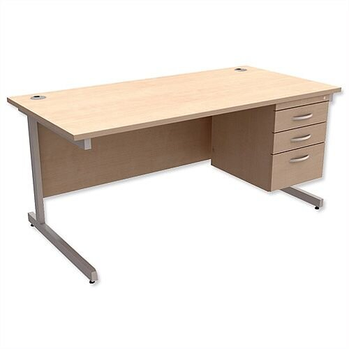 Rectangular Office Desk With Fixed 3-Drawer Pedestal Silver Legs W1600mm Maple Ashford – Cantilever Desk &Extra Storage , 25 Year Warranty