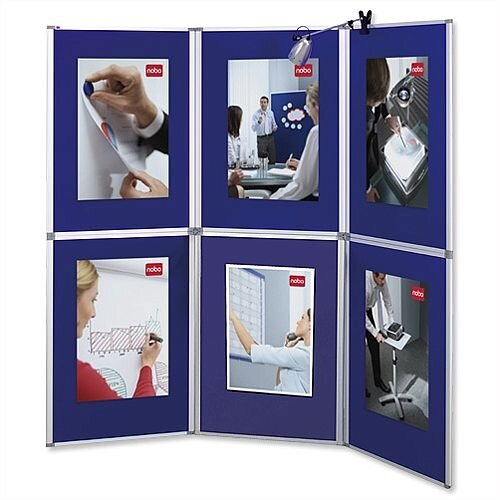 Nobo Pro-Panel 6 Panel Display Boards and Bag Blue Fabric and Dry White Sides 1901169