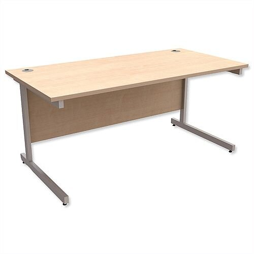 Office Desk Rectangular Silver Legs W1600mm Maple Ashford
