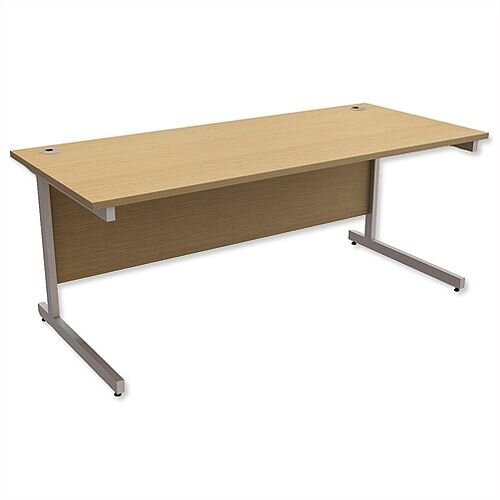 Office Desk Rectangular Silver Legs W1800mm Urban Oak Ashford
