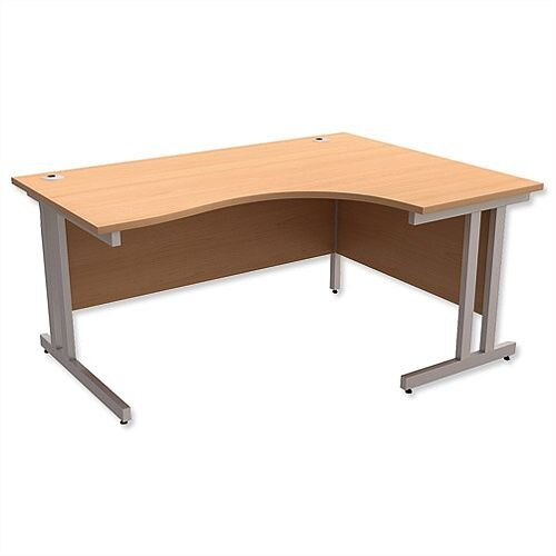 Radial Office Desk Right Hand Double Cantilever Silver Legs W1600xD1200xH730mm Beech Mix
