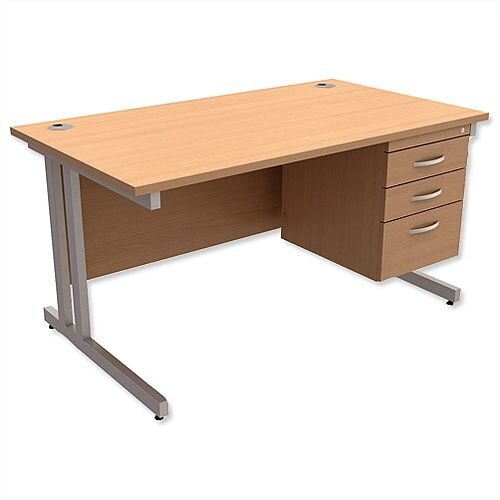 Trexus Contract Plus Cantilever Office Desk Rectangular 3-Drawer Pedestal Silver Legs W1400xD800xH725mm Beech