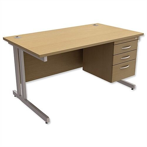 Trexus Contract Plus Cantilever Office Desk Rectangular 3-Drawer Pedestal Silver Legs W1400xD800xH725mm Oak