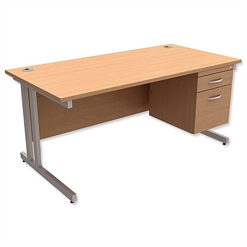 Trexus Contract Plus Cantilever Office Desk Rectangular 2-Drawer Pedestal Silver Legs W1600xD800xH725mm Beech