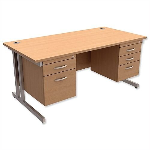 Trexus Contract Plus Cantilever Office Desk Rectangular Double Pedestal Silver Legs W1600xD800xH725mm Beech