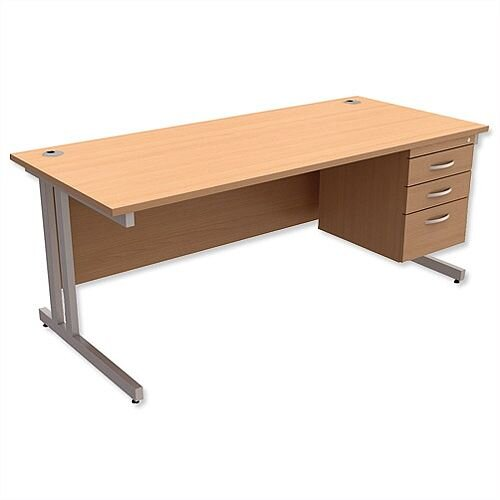 Trexus Contract Plus Cantilever Office Desk Rectangular 3-Drawer Pedestal Silver Legs W1800xD800xH725mm Beech