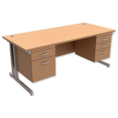 Trexus Contract Plus Cantilever Office Desk Rectangular Double Pedestal Silver Legs W1800xD800xH725mm Beech