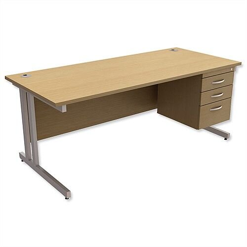 Trexus Contract Plus Cantilever Office Desk Rectangular 3-Drawer Pedestal Silver Legs W1800xD800xH725mm Oak