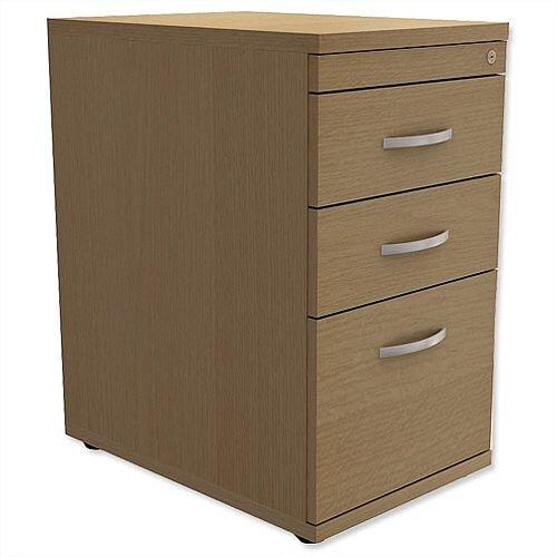 Filing Pedestal Desk-High 3-Drawer 600mm Deep Urban Oak Kito