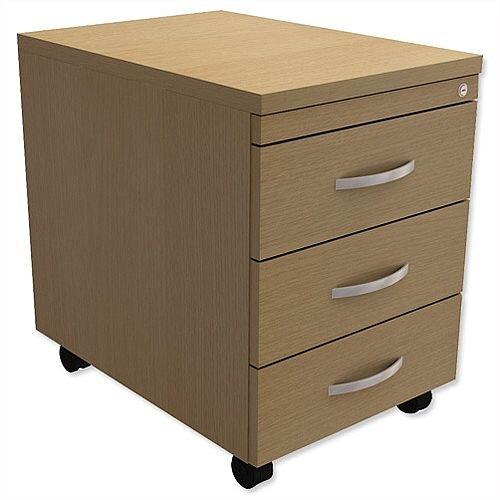 Mobile 3-Drawer Pedestal Urban Oak Kito