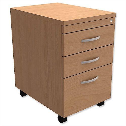 Filing Pedestal Mobile Tall Under-Desk 3-Drawer Beech Kito