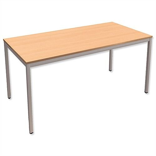 Rectangular Table with Silver Legs 18mm Top W1500xD750xH725mm Beech Kito