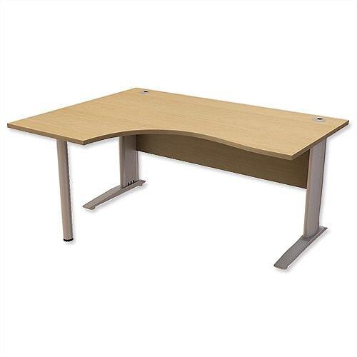 Cantilever Radial Office Desk Left Hand W1600xD1200xH725mm Urban Oak Komo