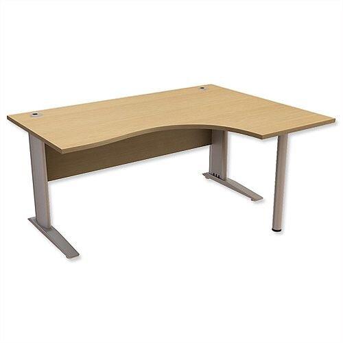 Cantilever Radial Office Desk Right Hand W1600xD1200xH725mm Urban Oak Komo