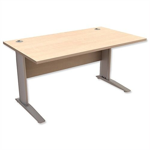 Cantilever Office Desk Rectangular W1400xD800xH725mm Maple Komo
