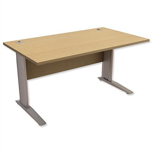 Cantilever Office Desk Rectangular W1400xD800xH725mm Urban Oak Komo
