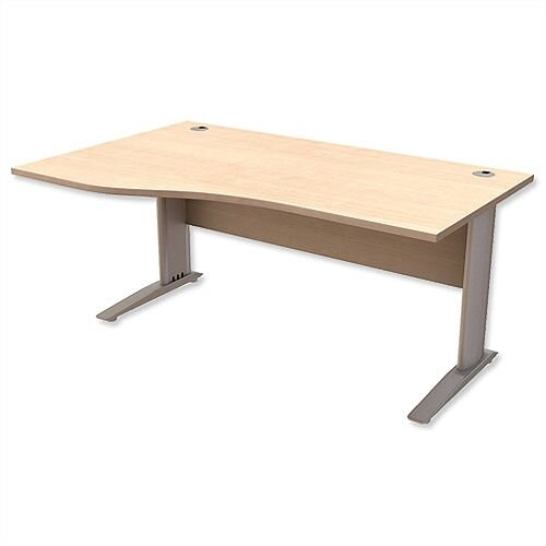 Komo Cantilever Wave Office Desk Left Hand W1600xD1000-800xH725mm Maple