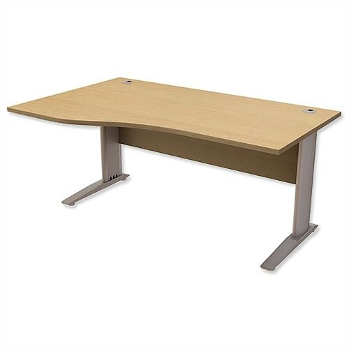 Komo Cantilever Wave Office Desk Left Hand W1600xD1000-800xH725mm Oak