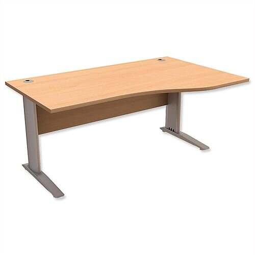 Komo Cantilever Wave Office Desk Right Hand W1600xD1000-800xH725mm Beech