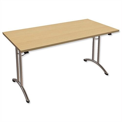 Folding Table Rectangular Chrome Legs 25mm Top W1500xD750xH725mm Urban Oak Morph Fold