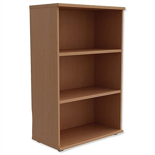 Medium Bookcase 1130mm High With Adjustable Shelves &Floor Leveller Feet Beech Kito