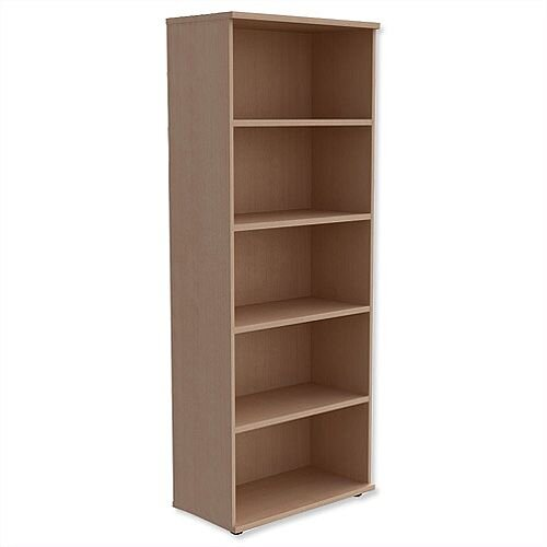 Tall Bookcase With Adjustable Shelves and Floor-leveller Feet W800xD420xH1850mm Maple Kito