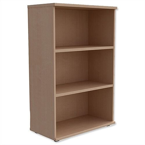 Medium Bookcase 1130mm High With Adjustable Shelves &Floor Leveller Feet Maple Kito