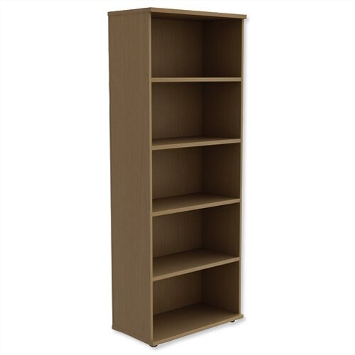 Tall Bookcase With Adjustable Shelves And Floor Leveller Feet W800xd420xh1850mm Urban Oak Kito