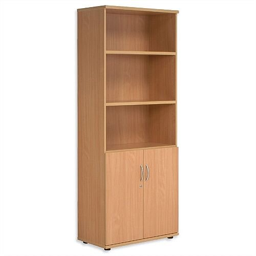 Tall Cupboard Part-Open Lockable Bottom Doors W800xD420xH1850mm Beech Kito