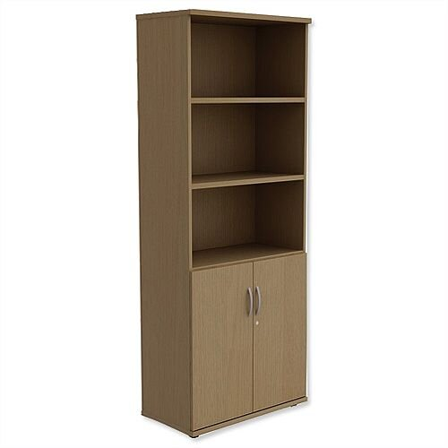 Tall Cupboard Part-Open Lockable Bottom Doors W800xD420xH1850mm Urban Oak Kito