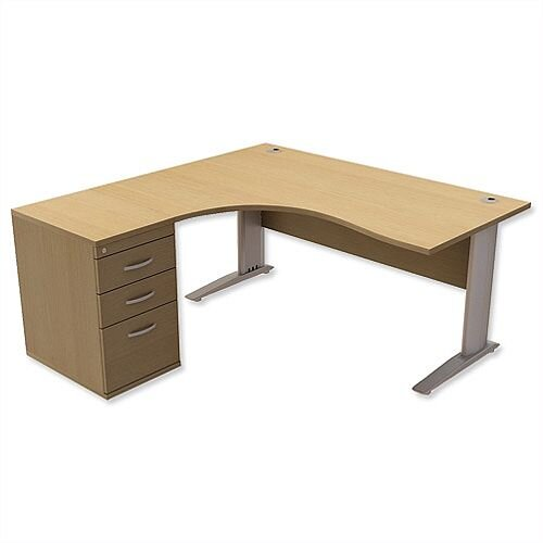 Radial Office Desk Left Hand with 600mm Desk-High Pedestal W1600xD1600xH725mm Urban Oak Komo