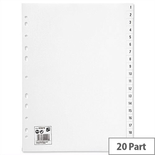 1-20 Index Plastic Multipunched A4 White 5 Star