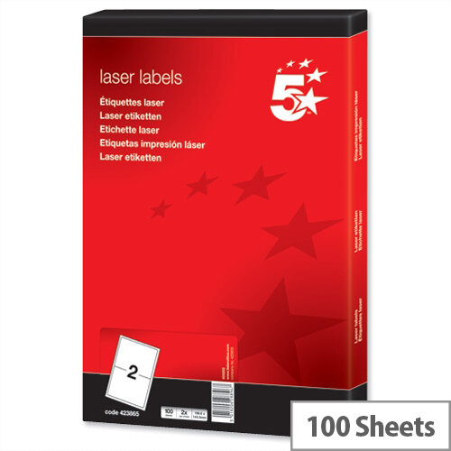 5 Star Address Labels Laser 199.6 x 143.5mm White (200 Labels)