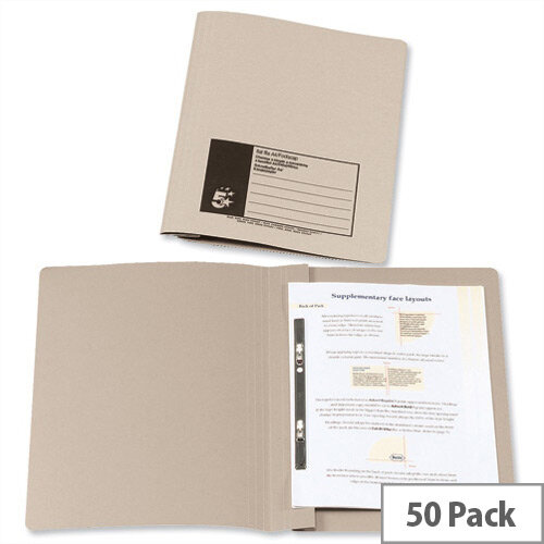Flat File Foolscap Recycled Manilla 315gsm 38mm Buff Pack 50 5 Star