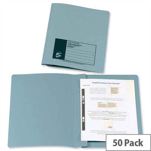 Flat File Foolscap Recycled Manilla 315gsm 38mm Blue Pack 50 5 Star