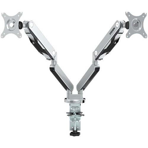 "Vision VFM-DAD2 Adjustable Dual Monitor Arm VESA Mount Compatible for up to 30"" Screen"