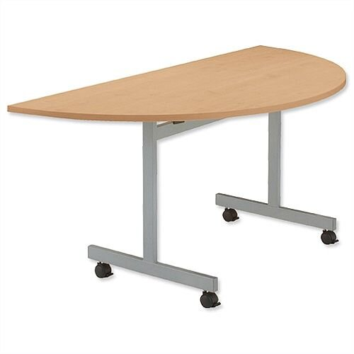 Beech Semi Circular Mobile Table Flip Top Width / Length 1600mm