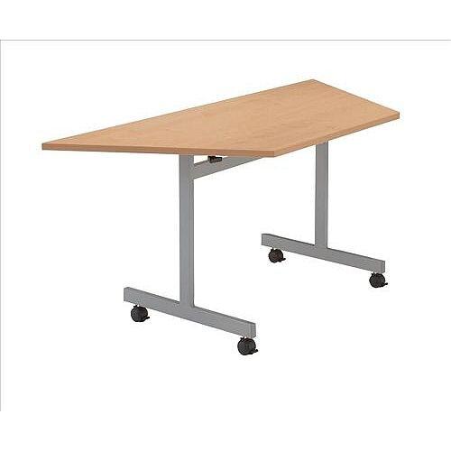 Beech Mobile Table Flip Top Trapezoidal Width / Length 1600mm Longest Side