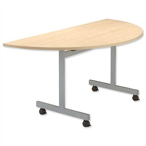 Maple Semi Circular Mobile Table Flip Top Width / Length 1600mm