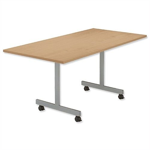 Oak Mobile Flip Top Rectangular Table Width / Length 1600mm