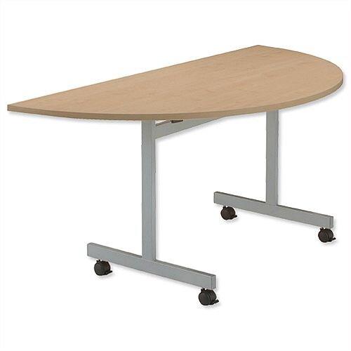 Oak Semi Circular Mobile Table Flip Top Width / Length 1600mm